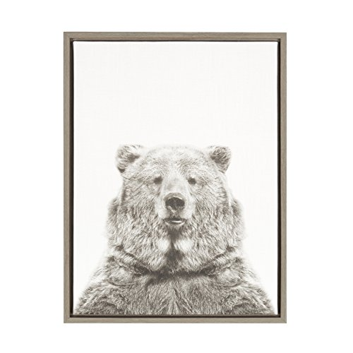 (Kate and Laurel Sylvie Bear Black and White Portrait Gray Framed Canvas Wall Art by Simon Te Tai)