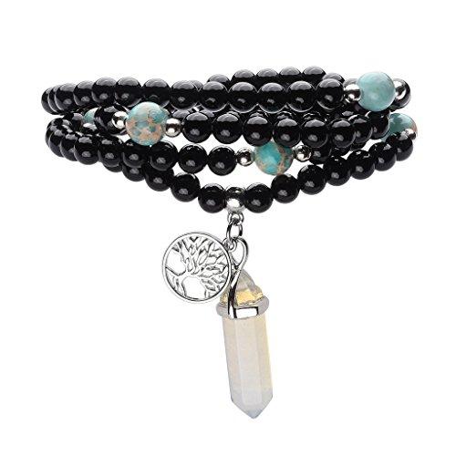 JOVIVI 6mm Natural Black Agate Onxy Healing Gemstone 108 Buddhist Prayer Beads Tibetan Mala Wrap Bracelets/Necklace (Onyx Tibetan)