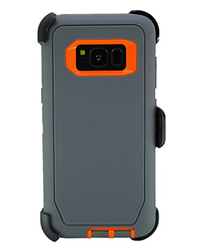 WallSkiN Turtle Series Cases for Samsung Galaxy S8 (Only) Tough Protection with Kickstand & Holster - Charcoal (Grey/Orange)