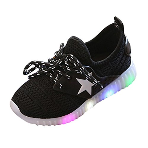 (Orangeskycn ❀Baby Sneakers,Fashion Sneakers Star Luminous Casual Colorful Light Toddler Baby Shoes (8T, Black))