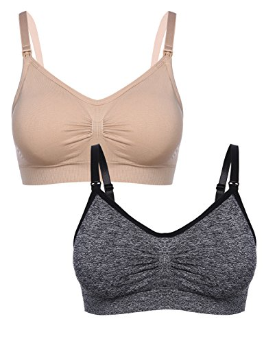 (Aibrou Maternity Bra Wirefree Padded Bras Breastfeeding Nursing Bra for Women (M, Black+Nude))