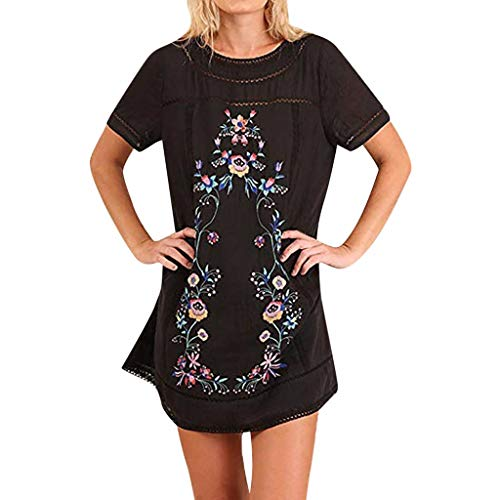 BODOAO Women Off Shoulder Loose Dress Ruffled Layered Sleeved Party Short Mini Dress