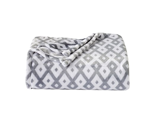 The Big One Soft Plush Throw Blanket Oversized 60 x 72 inches (Abstract Grey Geo)