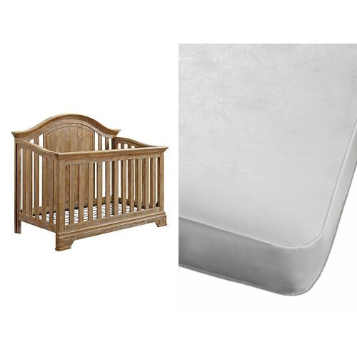 Baby Relax Macy 4-in-1 Convertible Crib, Natural rustic with Heavenly Dreams White Crib Mattress