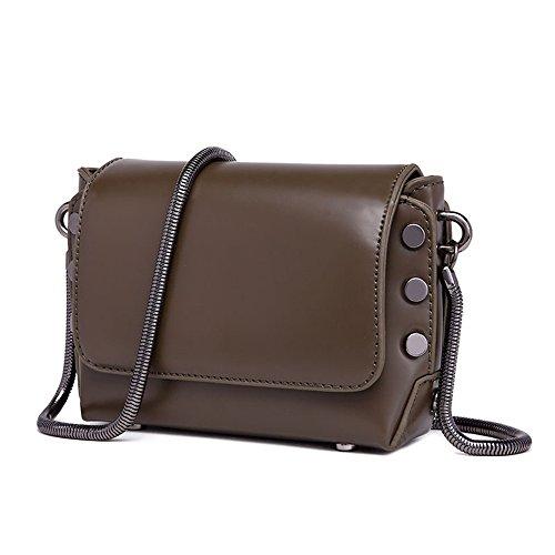 Simple Sac Carré Bag Foncé Magnetic Messenger Bandoulière Loisirs Bandoulière Retro PU Vert à Rivets Chaîne rBwrqY