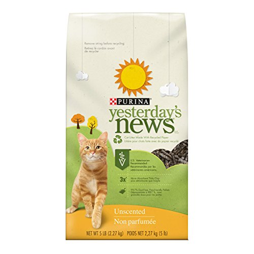 Purina Yesterday's News Non Clumping Paper Cat Litter; Unscented Low Tracking Cat Litter - 5 lb. Bag (Pack of 6)