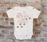 My Big Sister Has Paws Onesie® in Pink, Funny Onesie, Big Sister Onesie, Cute Onesie, Dog Sister Bodysuit, Boho Baby Onesie