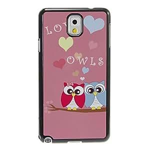 Planta Loving Pink Owl Patrón Pareja de aluminio y plástico cubierta de la caja trasera dura para Samsung Galaxy Nota 3 N9000