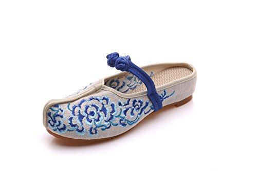 comodo blue tendine etnico caduta femminile ricamate unico GuiXinWeiHeng sandali modo vibrazione stile scarpe xiuhuaxie di qCIxwn76a