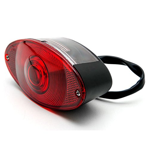 Krator Black Cat Eye License Plate Taillight Brake Light For Suzuki Burgman Moped Shuttle FA50 FZ50 ()