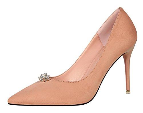 Naughty Farm Girl Costume (Passionow Women's Elegant Pointy Toe Stiletto Heel Rhinestone Faux Suede Dressy Wedding Prom Pumps (6 B(M)US,Pink))