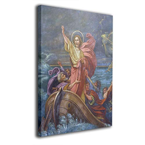 Absonne Canvas Wall Art Jesus Calms A Storm On The Sea Streched and Framed Paintings Picture for Home Decorations Wall -