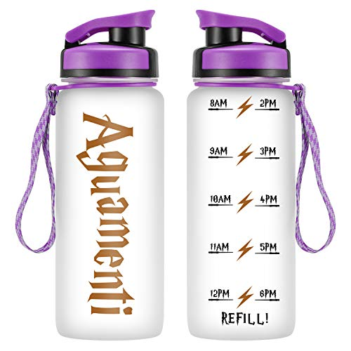 LEADO 24oz Motivational Tracking Water Bottle with Time Marker – Aguamenti HP Fans Merchandise – Funny Potterhead Birthday, Summer Gifts for Women, Men, Kids, Girls, Daughter, Son – Drink More Water