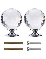 Crystal deurknoppen 60mm Diamond Pull Handvat Clear Glass Deurknop Massief Ronde Crystal Cut Facet met Schroef en Accessoires voor Kabinet (2 Pack)