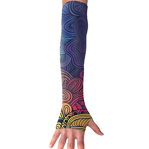 HBSUN FL Unisex Abstract Colorful Flowers Texture Anti-UV Cuff Sunscreen Glove Outdoor Sport Riding Bicycles Half Refers Arm Sleeves by HBSUN FL