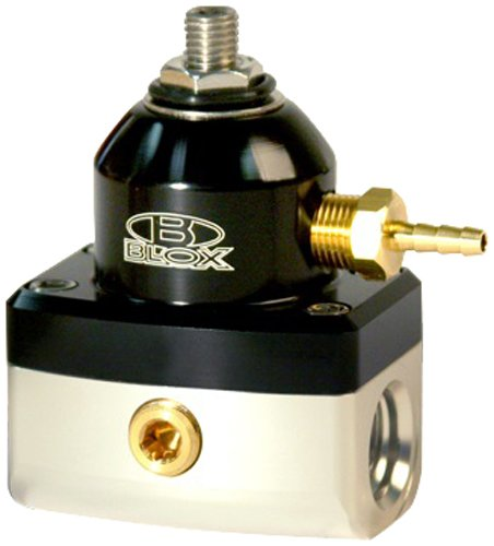 Blox Racing BXFU-00410-BKS Competition Black//Silver 2-Port Adjustable Fuel Pressure Regulator