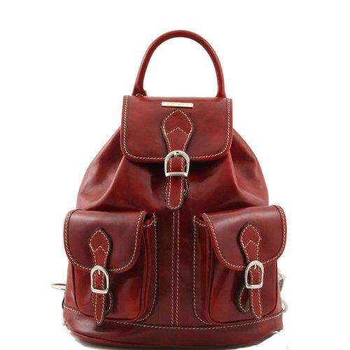 Tuscany Leather - Bolso al hombro de piel de cerdo para mujer rojo rojo