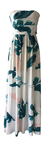 Lucky Love Maxi Dresses for Women, Plus Size Summer Beach Dress, Strapless, Vintage Floral (3XL, White Leaf)