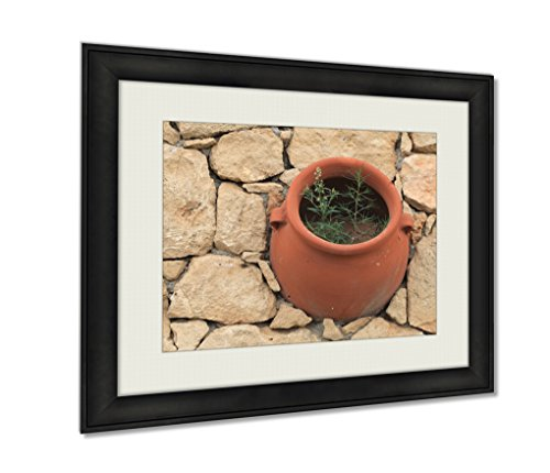(Ashley Framed Prints, Clay Pot Flower In The Stone Wall View From Above, Wall Art Decor Giclee Photo Print In Black Wood Frame, Ready to hang, 24x30 Art, AG6518983)