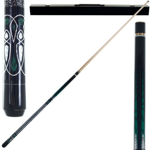 2 Piece Hardwood Emerald Laser Design Pool Stick Cue - With Carrying Case! by TMG