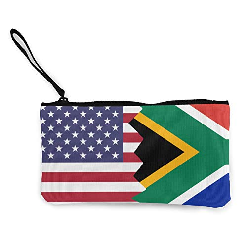 American South African Flag Canvas Coin Purse Retro Change Cash Bag with Zip White