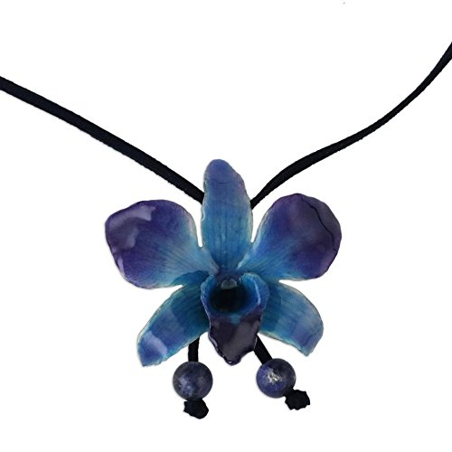 NOVICA Natural Orchid and Sodalite Long Lariat Necklace, 34.5