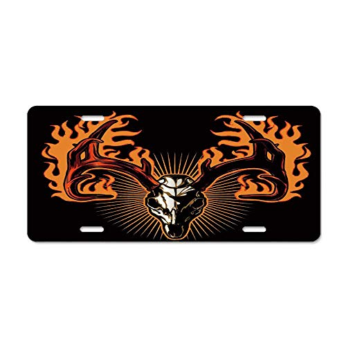 LLgLOOhoOPPPJDh Wild Animal Deer Antlers with Fire Against Black Backdrop License Plate Cover Aluminum Car Tag Cover License Tag Holder License Plate Frame for US Vehicles Standard ()