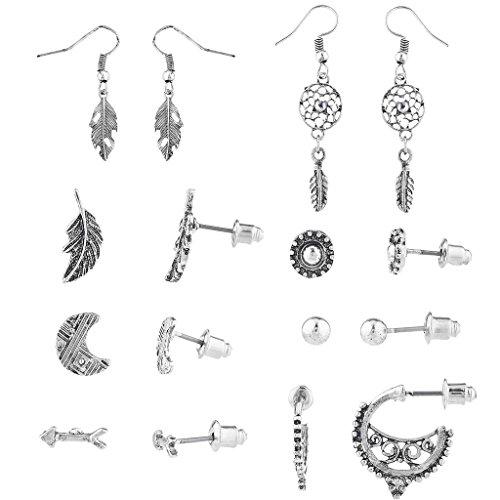 Lux Accessories Burnished Silver Tone Stud Hoop Drop Multiple Earring Set - Inca Silver Leaf