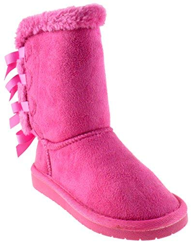 Forever Link Ann 34K Little Girls Shearling Bow Tie Fur Boots Fuchsia 3