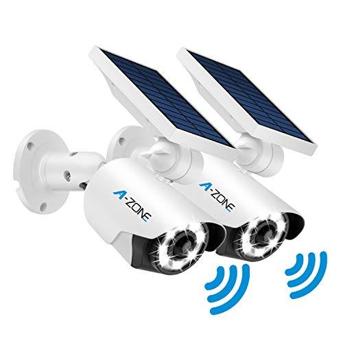 Solar Lights Outdoor Motion Sensor - 800Lumens 8 LED Spotlight 5-Watt Solar Lights Outdoor IP66 Waterproof, Wireless Solar Flood Light for Porch Garden Driveway Pathway,Aluminum,Pack of 2 (White)