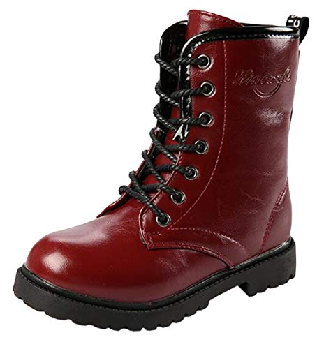 DADAWEN Boy's Girl's Waterproof Outdoor Combat Lace-Up Side Zipper Mid Calf Boots Dark Red US Size 10 M Toddler]()