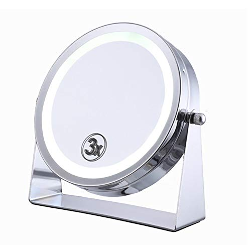 Makeup Mirror LED Double-Sided 6 Inches 3X Magnification Desktop 360 Degree Rotation -