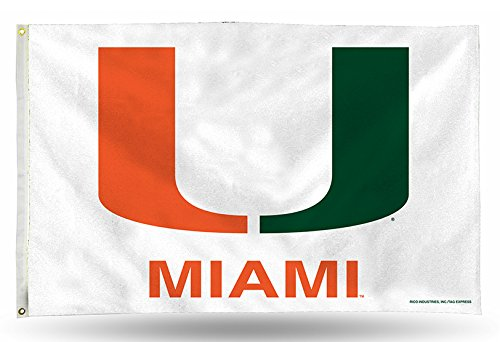 Rico Industries NCAA Miami Hurricanes 3-Foot by 5-Foot Single Sided Banner Flag with Grommets ()