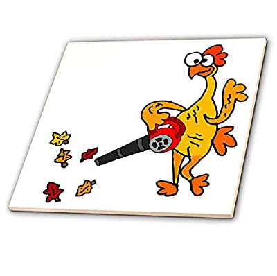 3dRose All Smiles Art - Funny - Cute Funny Unique Rubber Chicken Using Leaf Blower - Tiles