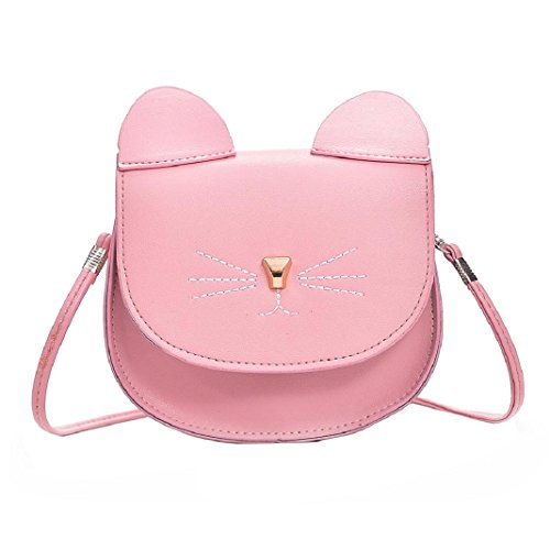 ShenPr Women Purse Kitty Cat Satchel Shoulder Bag Handbag Tote Leather Shoulder Bag Crossbody Bag (Pink)