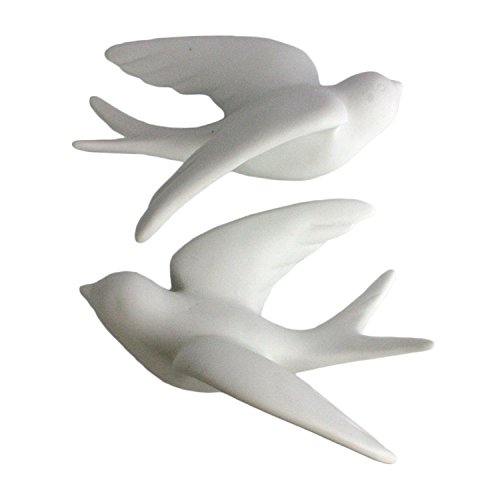 (Pair of Wall Mount Ceramic Sparrows - White -)