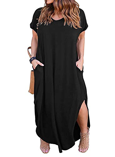 Nemidor Women's Casual Loose Pocket Long Dress Short Sleeve Plus Size Slit Maxi Dress (20W, Black)