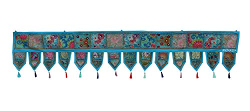 (''80'' Cotton Ethnic Wall Hanging Christmas Decorative Home Decor Vintage Patchwork Door Topper Valances Window Indian Hand Embroidered Patchwork Toran Boho Bohemian Living Room Decor (TURQUOISE))
