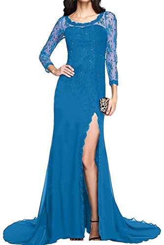 Schlitze Promkleider Beige mia Brautmutterkleider Abendkleider Lila Blau Braut Spitze Herrlich mit La Langarm Ballkleider qPzHz