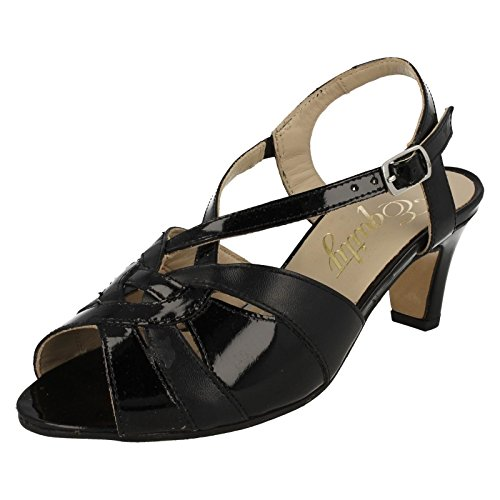 Ladies Equity Smart Peep Toe Slingback Sandals - Sarah Black Leather/Patent otcGe74AN8