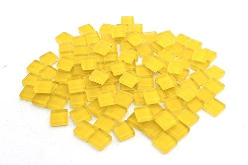 Milltown Merchants 4/10 Inch (10mm) Yellow Crystal Glass Mosaic Tile, 3 Pound (48 oz) Bulk Assortment of Mosaic Tiles