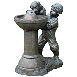Beckett Fountain Boy With Dog 20 In. W X 12 In. D X 25.8 In. H