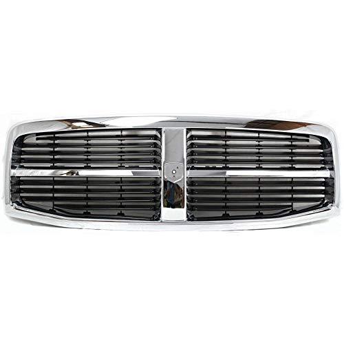 Grille for Dodge Durango 04-06 Plastic Chrome Shell/Painted-Black Insert