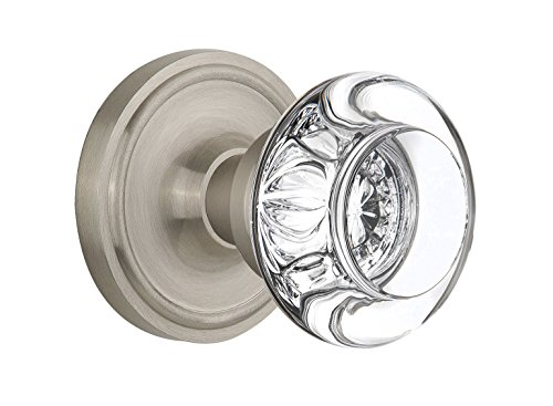 Nostalgic Warehouse Classic Rosette with Round Clear Crystal Glass Knob, Single Dummy, Satin Nickel (Dummy Glass)