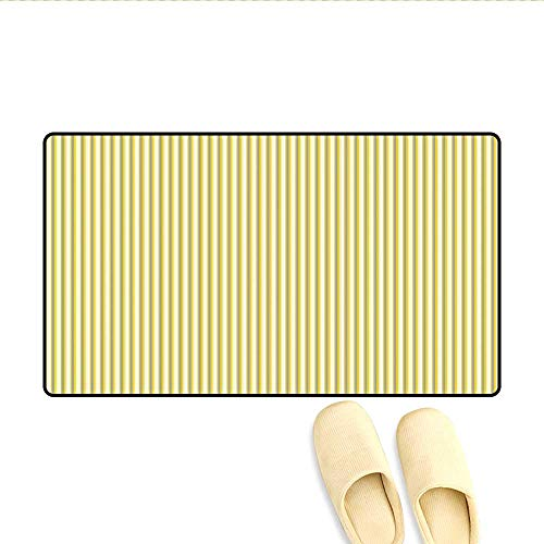 Bath Mat Circus Tent Inspired Vintage Retro Stripes Modern Image Door Mat Indoors Pale Yellow Beige and White 24