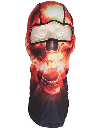 Zanheadgear Orange Red Black Hades Flames Flaming Skull Polyester Balaclava Face Mask Non Bulky]()
