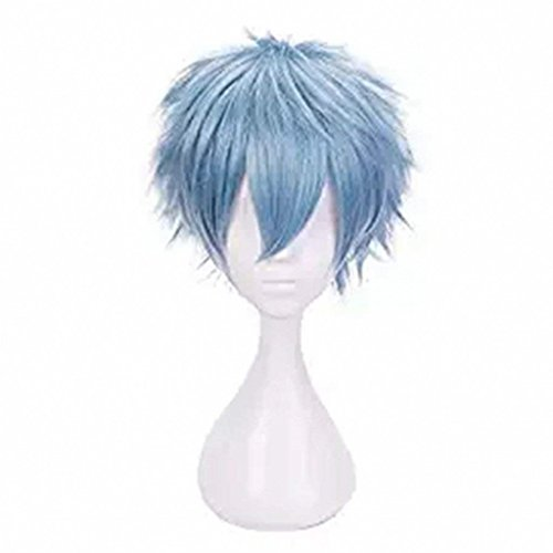 AniLnc Anime Cosplay Wig Short Blue Hair Synthetic Wigs For Men