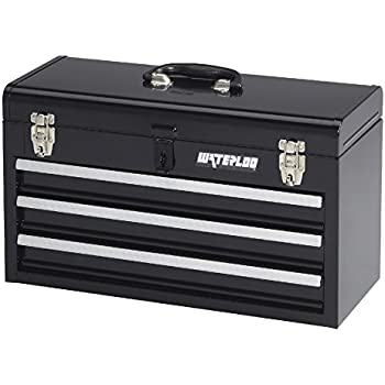 Waterloo Portable Series 3 Drawer Metal Tool Chest, Black Finish, ...