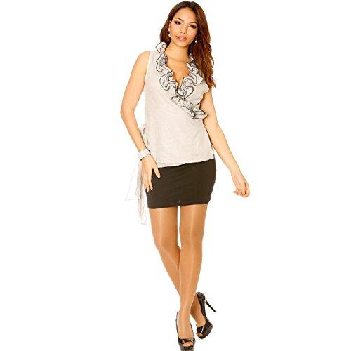 Miss Wear Line - Cache coeur gris avec froufrou à l'avant