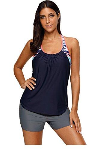 (Shawhuwa Womens Floral Blouson Swimwear T-Back Tankini Top L Navy )